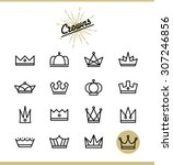 set of line crown icons  vector ... | Shutterstock .eps vector #307246856