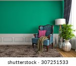 green interior with chair and... | Shutterstock . vector #307251533