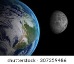The Earth And Moon  From Space...