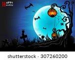 happy halloween . a ghost... | Shutterstock .eps vector #307260200