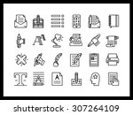 vector icon set in a modern... | Shutterstock .eps vector #307264109