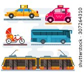 city transport set. public... | Shutterstock .eps vector #307264310