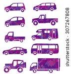 purple silhouette of car | Shutterstock .eps vector #307267808