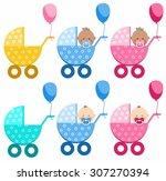 babies in strollers  different  ... | Shutterstock .eps vector #307270394