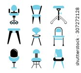 chair icons set  furniture icons | Shutterstock .eps vector #307272128