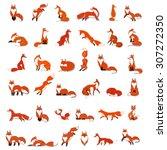 big vector set red foxes in... | Shutterstock .eps vector #307272350
