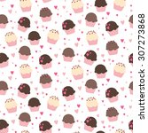 cute cupcake vector pattern... | Shutterstock .eps vector #307273868