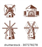 Ancient Mill Symbols. Vector...