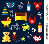 baby toys and objects flat... | Shutterstock .eps vector #307283843