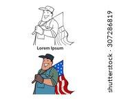 worker holding american flag ... | Shutterstock .eps vector #307286819
