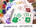 painted handprints with art and ...   Shutterstock . vector #307289378