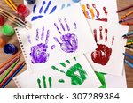painted child hand prints with...   Shutterstock . vector #307289384
