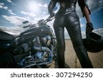 Biker Girl In Leather Jacket...