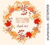 round frame of autumn leaves.... | Shutterstock .eps vector #307309058