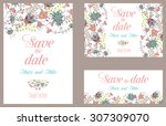 wedding invitation vintage card ... | Shutterstock .eps vector #307309070