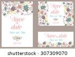 wedding invitation vintage card ... | Shutterstock .eps vector #307309070