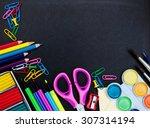 school supplies on a school  ... | Shutterstock . vector #307314194