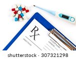 thermometer with pills and rx... | Shutterstock . vector #307321298