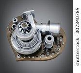 concept. iron heart... | Shutterstock . vector #307340789