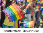 Small photo of GayPride spectators carrying Rainbow gay flags during Montreal Pride March