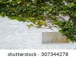 painted white wall partly...   Shutterstock . vector #307344278
