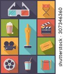 movie and cinema icons vector... | Shutterstock .eps vector #307346360
