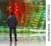 businessman standing in front... | Shutterstock . vector #307354013