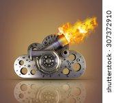 concept. steel cloud... | Shutterstock . vector #307372910