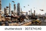 scifi cityscape transport...   Shutterstock . vector #307374140