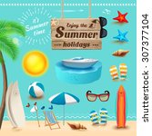set of realistic summer icons... | Shutterstock . vector #307377104