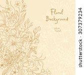 hand drawn flower backdrop  | Shutterstock .eps vector #307379234