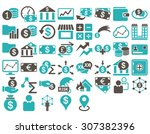 business icon set. these flat... | Shutterstock . vector #307382396