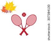 tennis rackets with ball vector ... | Shutterstock .eps vector #307384130