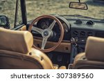 Small photo of Sleza, Poland, August 15, 2015: Close up on Old Vintage steering wheel and cockpit of Apha Romeo on Motorclassic show on August 15, 2015 in the Poland