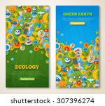 vertical banners set with icons ... | Shutterstock .eps vector #307396274