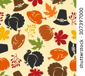 happy thanksgiving day seamless ... | Shutterstock .eps vector #307397000
