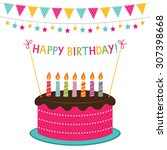 vector birthday card with a... | Shutterstock .eps vector #307398668
