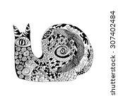 zentangle stylized snail.... | Shutterstock .eps vector #307402484