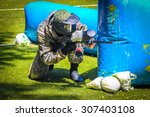 Paintball sport player in...