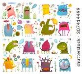 fun cute cartoon monsters for... | Shutterstock .eps vector #307414499