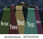 colored town vector with place...   Shutterstock .eps vector #307425344