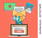 email marketing concept with... | Shutterstock .eps vector #307427609