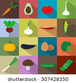 vegetables icons flat set with... | Shutterstock .eps vector #307428350