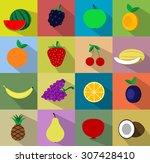 vector fruit icon set. vector | Shutterstock .eps vector #307428410
