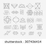 set of geometric trendy hipster ... | Shutterstock .eps vector #307436414