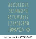 hand drawin alphabet... | Shutterstock .eps vector #307436603