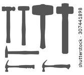 hammer silhouette. vector set... | Shutterstock .eps vector #307441898