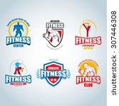 fitness logo templates set. gym ...   Shutterstock .eps vector #307446308