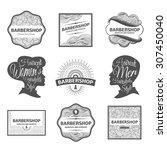 vector set of retro barber shop ...   Shutterstock .eps vector #307450040