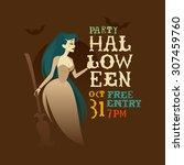 halloween flyer with pretty... | Shutterstock .eps vector #307459760